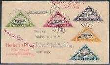 Liberia Flugpost-Dreiecke MiF Einschrieben Zensur Beleg nach Leipzig 1936 (2474)