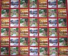 "34"" Fabric Panel - Sykel Coca-Cola Coke Vintage Rustic Covered Bridge Blocks Red"