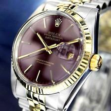 MENS 2TONE 18K/SS ROLEX DATEJUST, QUICKSET W/ FACTORY MAROON DIAL & ORIG. BAND