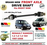 FOR RENAULT KANGOO 1.2 1.4 1.2 16V 1997-2008 1x NEW FRONT AXLE RIGHT DRIVESHAFT