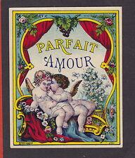 Ancienne   étiquette glacée  France   Alcool   BN18801 Parfait Amour Ange fleur