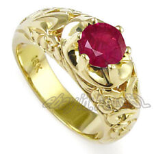 Men's 18k Yellow Gold & Natural Ruby Ring Pigeon Blood-red Ruby Mogak Ruby
