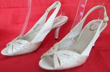 DEBUT SIZE 5 WOMENS SPARKLY SATIN IVORY WEDDING SLINGBACKS PEEPTOES HEELS SHOES