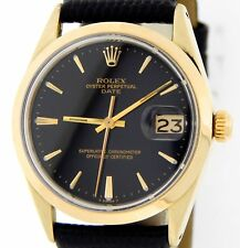 Rolex Date 1550 Mens 14K Gold Shell Watch Black Leather Band Black Dial 34mm
