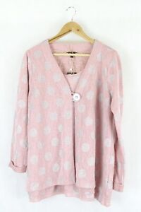 Clarity Pink Knit Top Cardigan L by Reluv Clothing