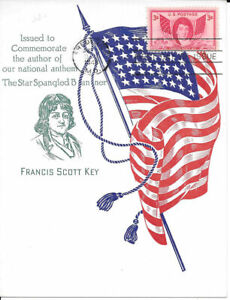 #962 First Day Souvenir Card 3c Commemorates the Author, Francis Scott Key w/FDC