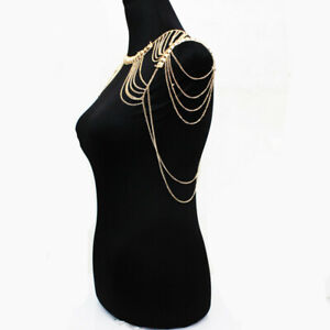 Women Tassels Link Body Harness Glamour Shoulder Chain Necklace Jewelry