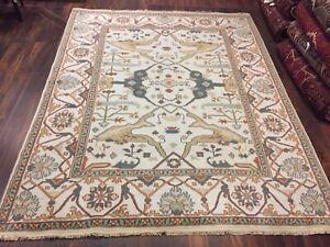 "On Sale Genuine Hand Knotted Indo Oushak Geometric Area Rug Carpet 8'x9'11"",#28"