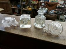 Lot of 4 Antique Inkwells - 2 Snail Style, Moon & Stars, and Square