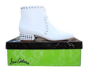 "NIB $180 Women's SAM EDELMAN ""Lorin"" White Studded Bootie Shoes Size 6.5M US"