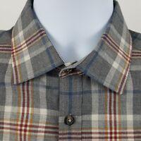 Jos A Bank 1905 Modern Fit Gray Plaid Check L/S Casual Button Shirt Sz Medium M
