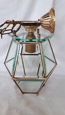 Ancienne suspension lustre  plafonnier verres biseautés 12 faces cuivre laiton