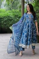 Indian Women Kurti Dupatta Palazzo Set Kurta Cotton Dress Tunic Combo Ethnic Top