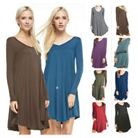 USA Women Solid V-Neck Long Sleeve A-Line Swing Dress Long Tunic Top Plus S~3XL