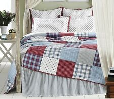 AMERICAN STAR 2pc Twin Single QUILT SET : COUNTRY RED WHITE BLUE BOYS COMFORTER
