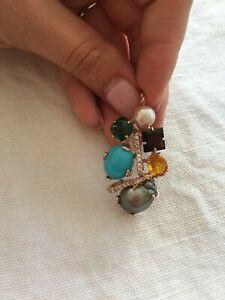 Ciondolo Turchese Argento 925 smeraldo perla tahiti topaz made in Italy