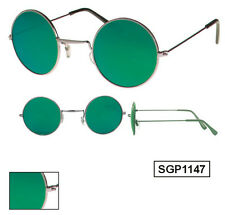Sonnenbrille Herrenbrille Nickelbrille runde Gläser grün / blau verspiegelt 1147