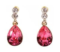 Swarovski Elements Crystal Rose Teardrop Pierced Earrings Gold Authentic 7331v
