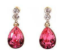 Pierced Earrings Gold Authentic 7331a Swarovski Elements Crystal Rose Teardrop