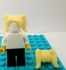 New Lego Hair Yellow Blonde  Long Pigtails Pig Tails High Ponytail Center Part