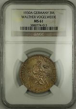 1930-A Germany Three Mark 3M Silver Coin Walther Vogelweide NGC MS-61