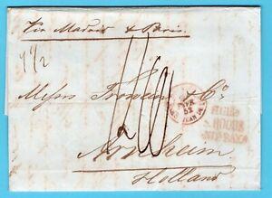 GIBRALTAR entire 1852 to Arhem Netherlands over Madrid - Paris
