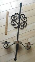 Vintage Hand Wrought Iron Candle holder wall Sconce Brass & copper twisted swirl