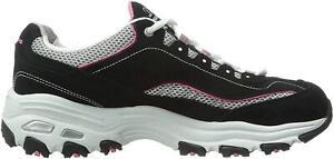 Skechers Women's Shoes D'Lites-Life Saver Low Top Lace Up, Black/Pink, Size 6.5