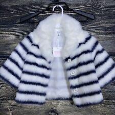 NEW NWT Juno Valentine by Janie And Jack Coat Size 2T Faux Fur White Blue Stripe