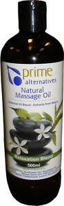 Massage Oil Relaxation Blend 500ml Water Dispersible Prime NO NUTS Made In Aust
