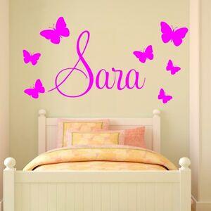 WUNSCHNAME mit 7 Schmetterlinge für Babys Wohnzimmer Schlafzimmer Jede Farbe