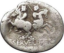 Roman Republic 136BC Rome Roma Dioscuri Gemini Twins Ancient Silver Coin i52452