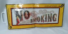 1970s Gemini Needlepoint Canvas No Smoking Sign Retro Font Partially Stitched