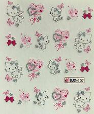 Nail Art Glitter Water Decals Kitten Hearts Bows Butterfly BJC107