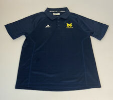 Adidas University Of Michigan Sports Marketing Navy S/S Polo Shirt Mens Med EUC