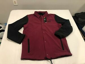 NWT $85.00 Under Armour Mens Coldgear Coaches Jacket Magenta Red / Black MEDIUM