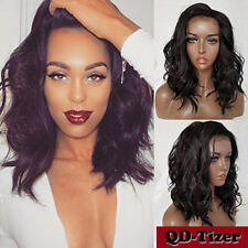 #2 Dark Brown Synthetic Lace Front Wig Heat Resistant Fiber Short Body Wavy Hair