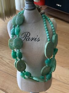 Antique Natural Necklace Green Agate Stone With a Unique Silver 925 Clasp
