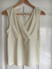 WOLFORD Womens Sleeveless Top Blouse Vest Overlap Stretch Casual Comfort sz M
