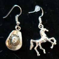 Tibetan Silver  Country Earrings Cowboy Hat & Running Horse Hook Dangle Western