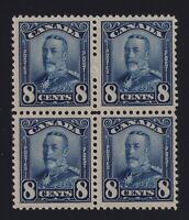 Canada Sc #154 (1928) 8c blue King George V Scroll Issue Block of 4 Mint VF NH