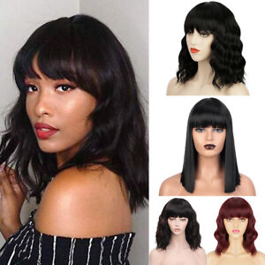 Short Wave Bob Wig with Bangs Natural Wig Wavy Synthetic Wigs for Women Brown