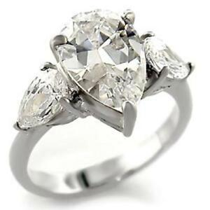 3 Pear Cut CZ Womens Rhodium Plated Wedding Marriage Promise Anniversary Ring