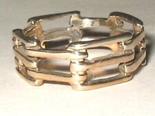 Biker Bicycle Link .925 Sterling Silver Gold Plated Ring 7mm Wide Sz 6.75