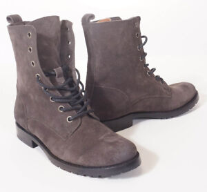 Frye Natalie Women Charcoal Grey Suede Leather Lace Up Military Combat Boots