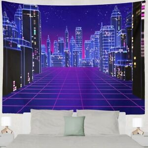 Skyscraper City Scenery Tapestry Psychedelic Wall Hanging Tapestry Home Decor
