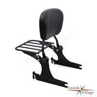 Black Detachable Backrest Sissy Bar Luggage Rack For Harley Dyna 02-05 06-UP