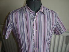 Ted Baker Men's Fitted Short Sleeve Striped Casual Shirts & Tops