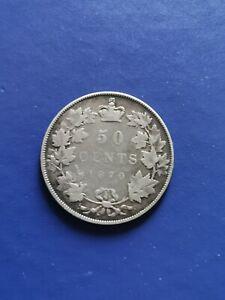 1870 LCW CANADA Half Dollar 50 Cents Silver Coin Queen Victoria