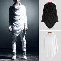 Mens Gothic Shirt Long Sleeve Punk Rave Hoodies Tops Asymmetric Hem Long Kaftan